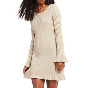 Chelsea & Violet Ruffle Trimmed Sweater Dress NEW